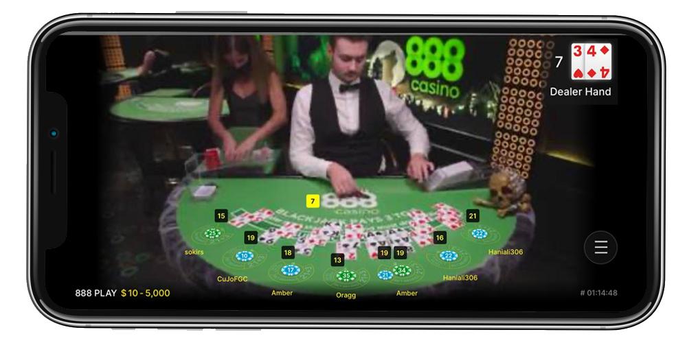 888 live casino on smartphone